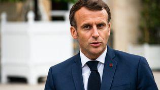 Emmanuel Macron, à l'Elysée, le 23 juin 2021. (XOSE BOUZAS / HANS LUCAS / AFP)
