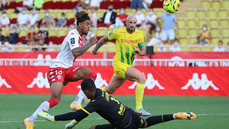 Willem Geubbels inscrit le deuxième but de Monaco contre Nantes (VALERY HACHE / AFP)