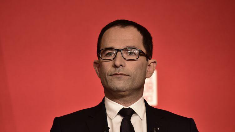Benoît Hamon, alors candidat à la présidence de la République, donne un meeting à la Mutualité, à Paris, le 23 avril 2017. (PHILIPPE LOPEZ / AFP)