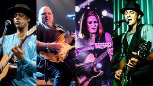 4 artistes du Label Dixie Frog : Eric Bibb, Popa Chubby, Jessie Lee & The Alchemists, et Grant Haua (Patrick  Canigher / Izzaw / Sally Garner)