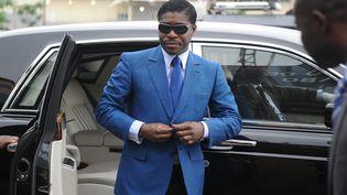 Le vice-président de Guinée Equatoriale Teodorin Obiang le 24 juin 2013 lors de son arrivée au stade Malabo pour les cérémonies organisées pour son 41e anniversaire. (JEROME LEROY / AFP)
