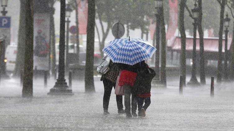 Une famille affronte la pluie battante, le 17 juin 2013 à Paris, alors qu'un orage s'abat sur la capitale. (FRANCOIS GUILLOT / AFP)