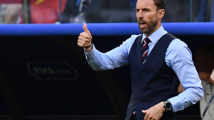 L'entraîneur de l'équipe britannique de football, Gareth Southgate, lors du quart de finale de la Coupe du monde contre la Russie, àSamara, le 7 juillet 2018. (FABRICE COFFRINI / AFP)