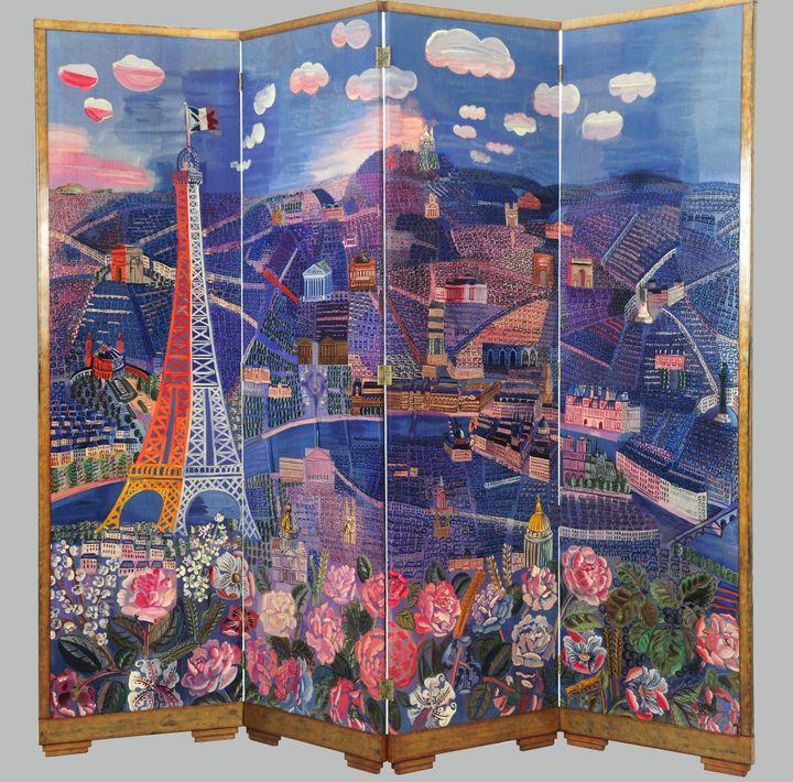 """Raoul Dufy et André Groult (1884 –1966), """"Panorama de Paris"""", 1933, Bois de hêtre, tapisserie de Beauvais, Paris, mobilier national et manufactures des Gobelins, de Beauvais et de la Savonnerie (© Adagp, Paris 2021)"""