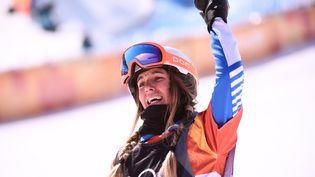 Julia Pereira De Sousa Mabileau réagit aprèsêtre arrivée deuxième au snowboardcross, à Pyeongchang (Corée du Sud), le 16 février 2018. (MARTIN BUREAU / AFP)