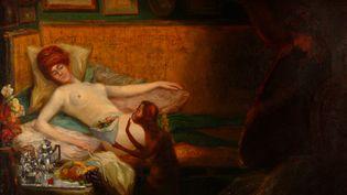 """""""Courtisane au miroir, au collier et aux fleurs"""",anonyme, huile sur toile, fin XIXe siècle. (DR AU BONHEUR DU JOUR)"""