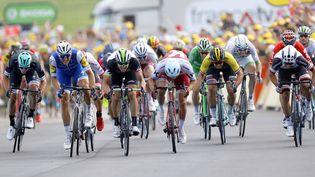 Les coureurs du Tour de France 2017 arrivent à Nuits-Saint-Georges (Bourgogne-Franche-Comté), l'arrivée de la septième étape. (ROBERT GHEMENT / EPA)