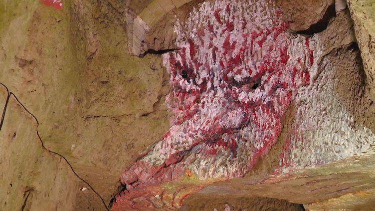 Oeuvre de MakikoFuruichi sur les parois de la cave Ackerman à Saumur (Maine et Loire) (France 3 Pays de la Loire)