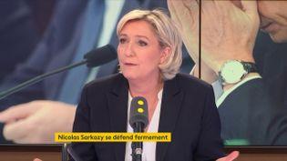 Marine Le Pen, la présidente du Front national, était l'invité de franceinfo vendredi 23 mars. (FRANCEINFO / RADIOFRANCE)
