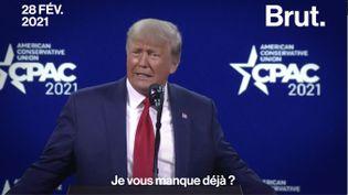 """VIDEO. """"Je vous manque déjà ?"""" : quand Donald Trump fait sa réapparition depuis sa défaite (BRUT)"""