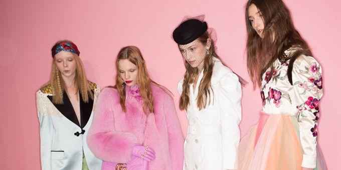 Quatre modèles de la collection Gucci pap féminin ah 2016-2017  (PIXELFORMULA / SIPA/SIPA)