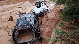 Douze personnes sont mortes dans leurs voitures, emportées par une violente inondation, à Hildale (Utah, Etats-Unis), le 15 septembre 2015. (GEORGE FREY / GETTY IMAGES NORTH AMERICA / AFP)