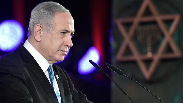 Le Premier ministre israélien Benyamin Nétanyahou prononce son discours à Jérusalem, jeudi 23 janvier 2020. (ALEKSEY NIKOLSKYI / SPUTNIK / AFP)