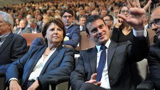 Martine Aubry et le Premier ministre, Manuel Valls, à Lille (Nord), le 9 octobre 2014. (FRANCOIS LO PRESTI / AFP)