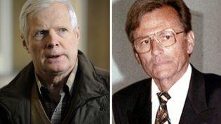 A gauche, André Bamberski, le père de Kalinka, en avril 2011. A droite Dieter Krombach, qui comparait pour le meutre de la jeune fille. (BORIS HORVAT/DR/AFP)