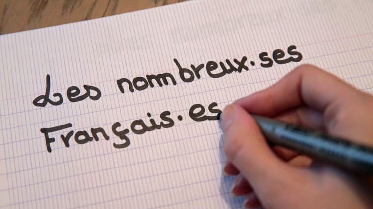 L'utilisation du point médian, un des outils de l'écriture inclusive. (FRANCOIS DESTOC / MAXPPP)