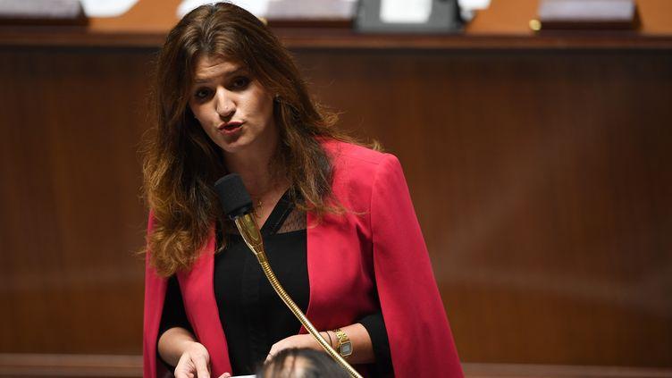 La secrétaire d'Etat en charge de l'Egalité entre les femmes et les hommes, Marlène Schiappa, à l'Assemblée nationale, le 27 novembre 2018. (CHRISTOPHE ARCHAMBAULT / AFP)