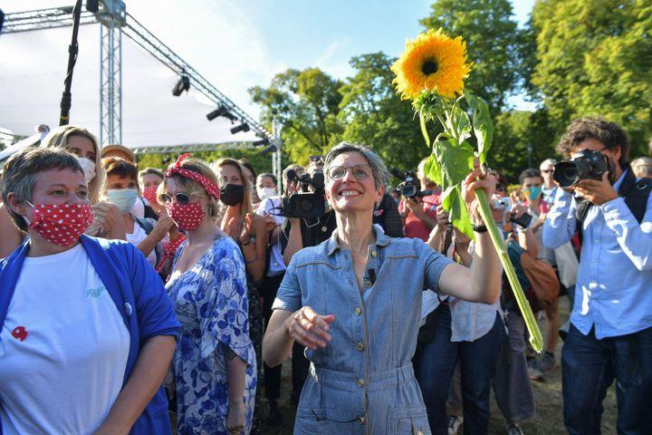 Sandrine Rousseaulors des journées d'été des écologistes, le 20 août 2021, à Poitiers (Vienne). (HARSIN ISABELLE / NOSSANT / SIPA)