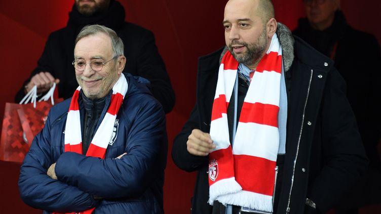 Gérard Lopez (à droite) et l'ancien président du LOSC Michel Seydoux (DENIS CHARLET / AFP)