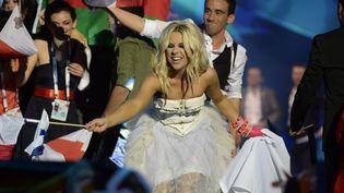 Krista Siegfrids pour la Finlande, lors de la demi-finale de l'Eurovision (16 mai 2013)  (JESSICA GOW / SCANPIX / SCANPIX SWEDEN / AFP)