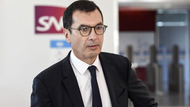 Le PDG de la SNCF Jean-Pierre Farandou à Saint-Denis (Seine-Saint-Denis), le 24 février 2021. (ERIC PIERMONT / AFP)