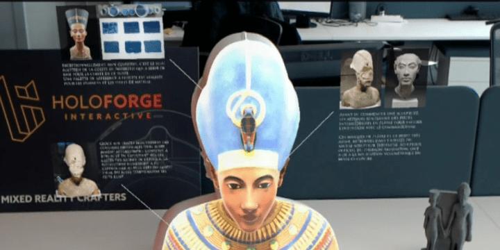 Avec la réalité mixte, Asobo a développé une tehcnologie qui permet de coloriser en hologramme le buste d'Akhénaton  (France 3)