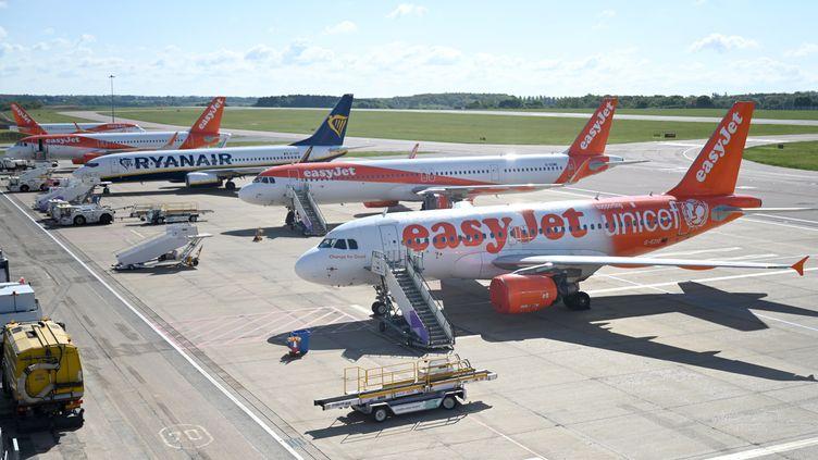 Des avions de la compagnie aérienne EasyJet cloués au sol lors de la pandémie de Covid-19, le 2 mai 2020, à l'aéroport de Luton (Royaume-Uni). (MAXPPP)