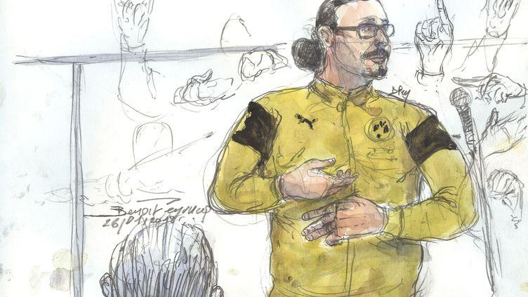 Croquis d'audience de Jawad Bendaoud, le 26 janvier 2018 devant le tribunal correctionnel de Paris. (BENOIT PEYRUCQ / AFP)