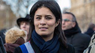 La députée LREM de La Manche, Sonia Krimi, lors d'un rassemblement contre les violences faites aux femmes le 25 novembre 2017. (MAXPPP)