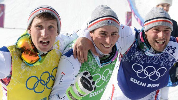 Le trio médaillé du skicross, Jonathan Midol, Jean-Frédéric Chapuis et Arnaud Bovolenta