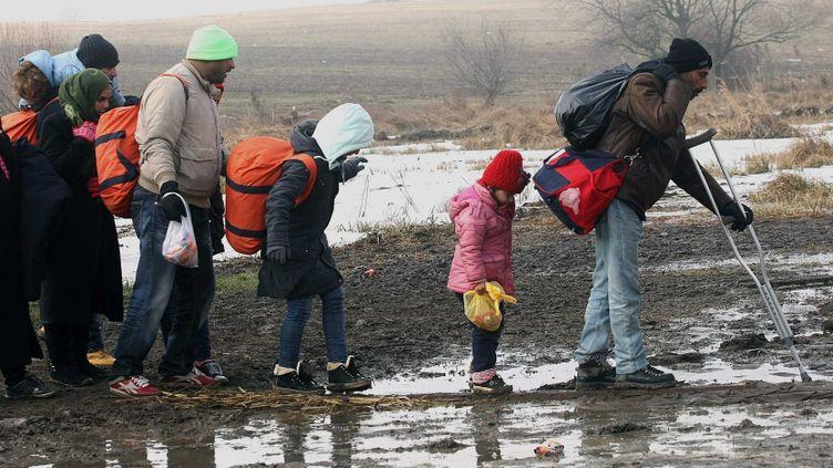(Migrants traversant la Serbie en janvier 2016 © MaxPPP)