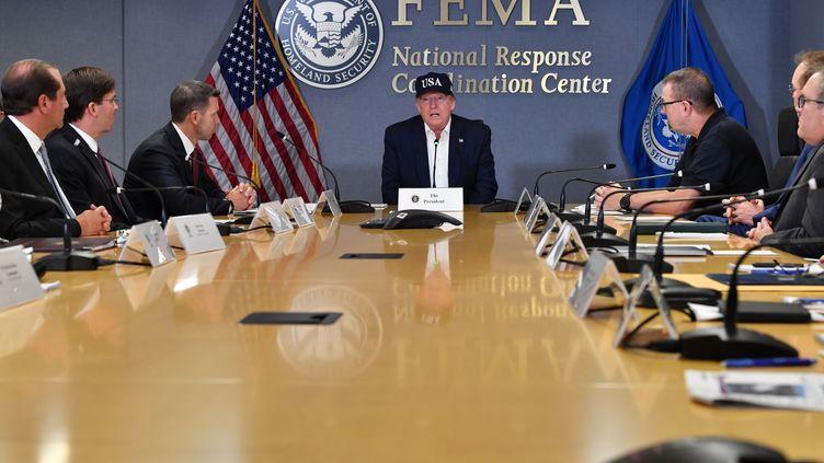 Le président américain, Donald Trump, lors d'une réunion à l'Agence fédérale des situations d'urgence, à Washington le 1er septembre 2019. (NICHOLAS KAMM / AFP)