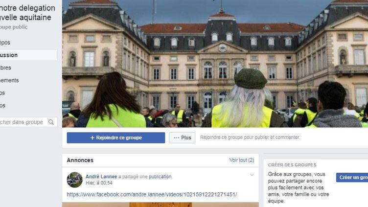 Capture d'écran de la page Facebook des gilets jaunes de Nouvelle-Aquitaine, créée pour recueillir des candidatures et organiser un vote pour désigner des délégués régionaux du mouvement. (FACEBOOK)