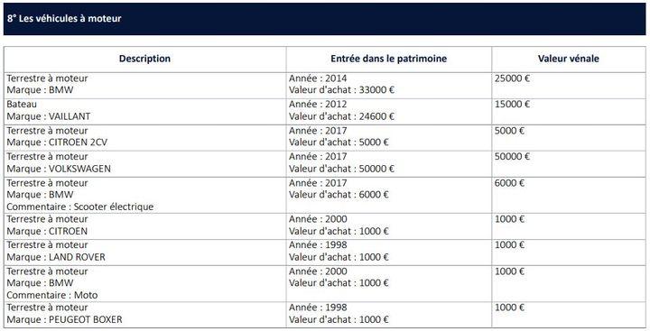 La liste des véhicules à moteur détenus par Nicolas Hulot, publiée par la Haute Autorité pour la transparence de la vie publique. (HATVP / FRANCEINFO)
