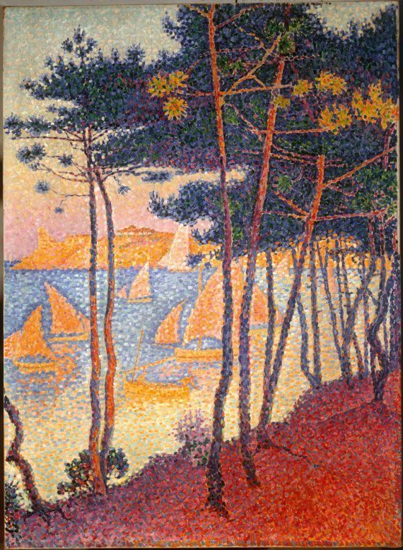 """Paul Signac, """"Voiles et pins"""", 1896. Huile sur toile, 81 x 52 cm. Collection particulière. (TOUS DROITS RÉSERVÉS)"""