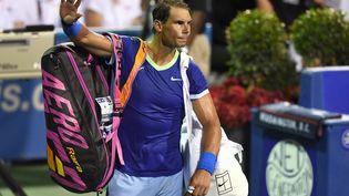 L'Espagnol Rafael Nadal après son élimination au tournoi de Washington, le 5 août 2021. (MITCHELL LAYTON / GETTY IMAGES NORTH AMERICA)