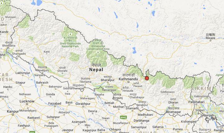 L'épicentre du séisme de magnitude 7,4 survenu le 12 mai 2015 au Népalse situe à l'ouest de Katmandou, près de l'Everest. (GOOGLE MAPS / FRANCETV INFO )