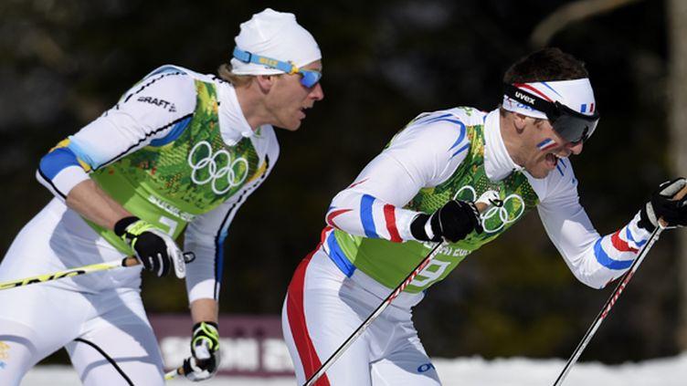 Le Français Maurice Manificat (à droite) et le Suédois Richardsson (à gauche) (ODD ANDERSEN / AFP)