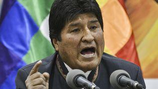 Evo Morales, président sortant de la Bolivie, lors d'une conférence de presse à La Paz, le 24 octobre 2019. (AIZAR RALDES / AFP)