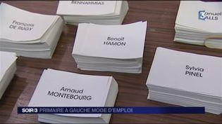 Les bulletins de vote pour la primaire de la gauche. (FRANCE 3)