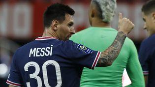 Lionel Messi se rend à Bruges pour son premier match de Ligue des champions sous ses nouvelles couleurs, mercredi 14 septembre. (MEHDI TAAMALLAH / AFP)