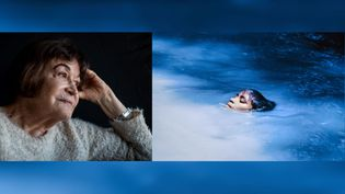 "A gauche, portrait de Claudia Andujar, 2019 - A droite, Claudia Andujar : ""Susi Korihana thëri au bain"", pellicule infrarouge, Catrimani, Roraima, 1972-1974. (A gauche © Victor Moriyama - A droite © Claudia Andujar)"