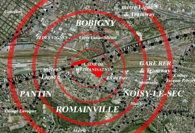 Les opposants au projet de l'usine de méthanisation estiment que des nuisances pourraient atteindre Romainville, Pantin et Noisy-le-Sec. (FTVi)