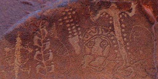 Figures taillées dans le roc par d'anciens aborigènes; péninsule de Burrup (nord-ouest de l'Austraie), 17-6-2012. (AFP - Greg WOOD)