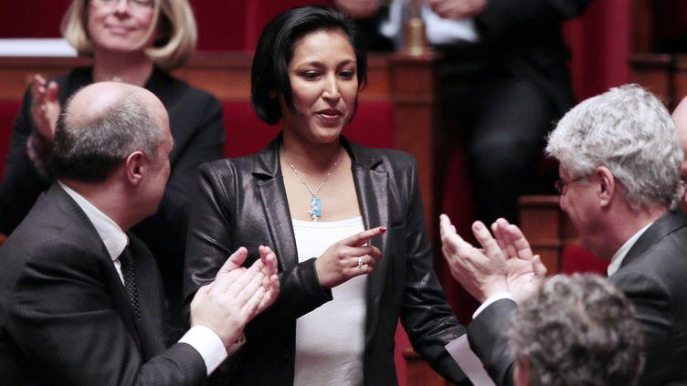 Corinne Narassiguin, l'une des deux députées des Français de l'étranger dont l'élection a été annulée, le 12 février 2013 à l'Assemblée nationale, à Paris. (JACQUES DEMARTHON / AFP)