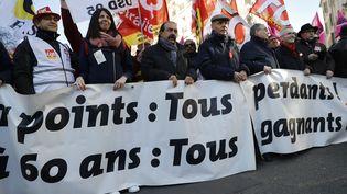 Le patron de la CGT, Philippe Martinez, lors de la manifestation parisienne contre la réforme des retraites, le 6 février 2020. (THOMAS SAMSON / AFP)