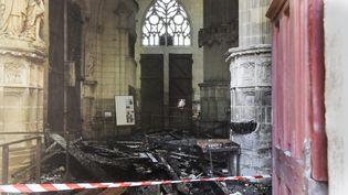 L'intérieur de la cathédrale Saint-Pierre et Saint-Paul de Nantes, dévastée par un incendie le 18 juillet 2020 (SEBASTIEN SALOM-GOMIS / AFP)