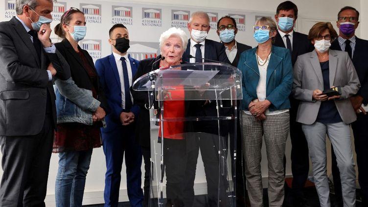 L'actrice Line Renaud lors d'une prise de parole à l'Assemblée nationale, le28 septembre 2021. (THOMAS COEX / AFP)