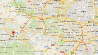Capture d'écran Google Maps pointant sur Trappes (Yvelines). ( GOOGLE MAPS / FRANCETV INFO )