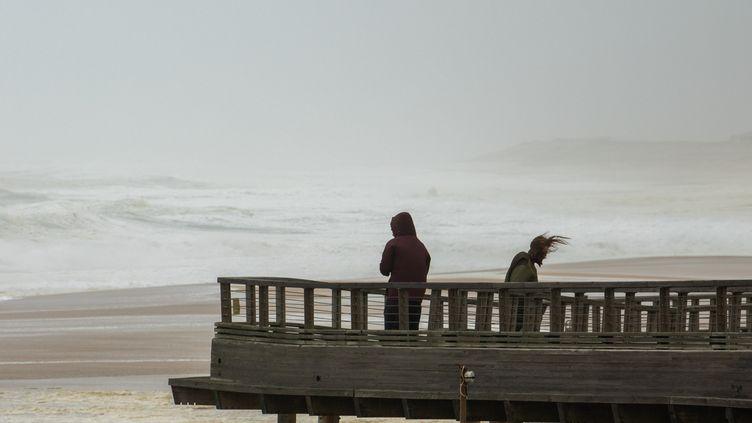 De fortes rafales de vent sur la plage de Capbreton (Landes), le 3 novembre 2019. (JEROME GILLES / NURPHOTO / AFP)